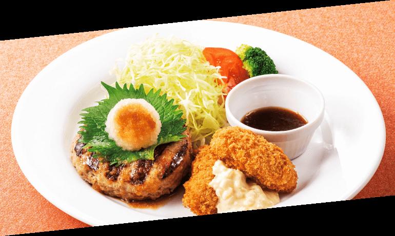 おろしハンバーグ&牡蠣フライ