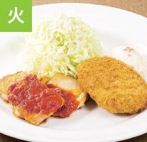 チキンのおろしソースと男爵ポテトコロッケ(ライスつき)
