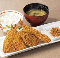 ミックスフライ定食【アジフライ・ヒレカツ・海老フライ】(ドリンクつき)