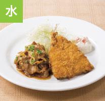 回鍋肉とアジフライ(ライスつき)